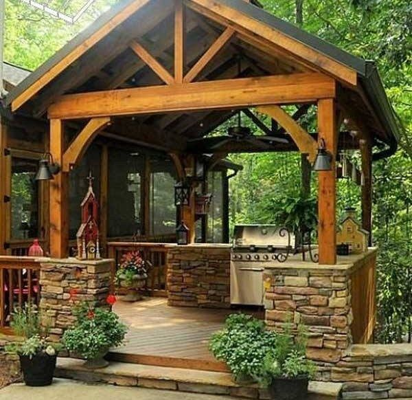 Modern Or Rustic Front Landscape Design: Modern Rustic Outdoor Kitchen Designs With Gondola