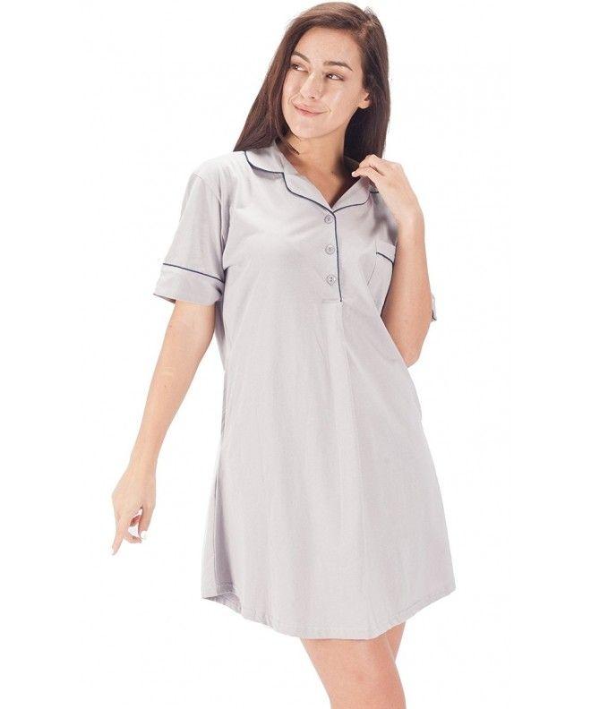 Womens Sleepwear Cotton Nightshirt Short Sleeve Boyfriend Sleep Dress Shirt  - Gray - CL180LU359U 9dd8131e8