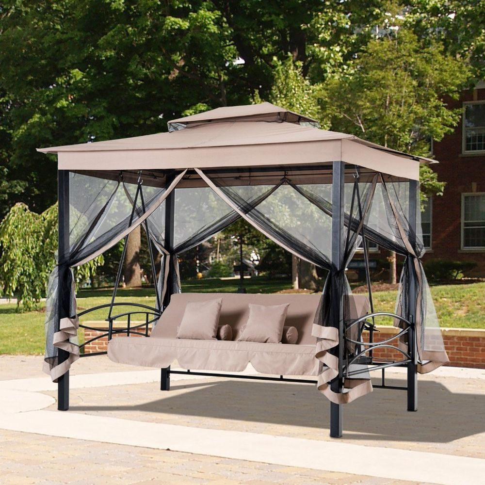 Outdoor Patio 3 Person Swing Bench Daybed Hammock Canopy Backyard Bed Mesh Walls Outdoorpatio3personswingb Daybed Canopy Canopy Tent Outdoor Porch Swing Chair
