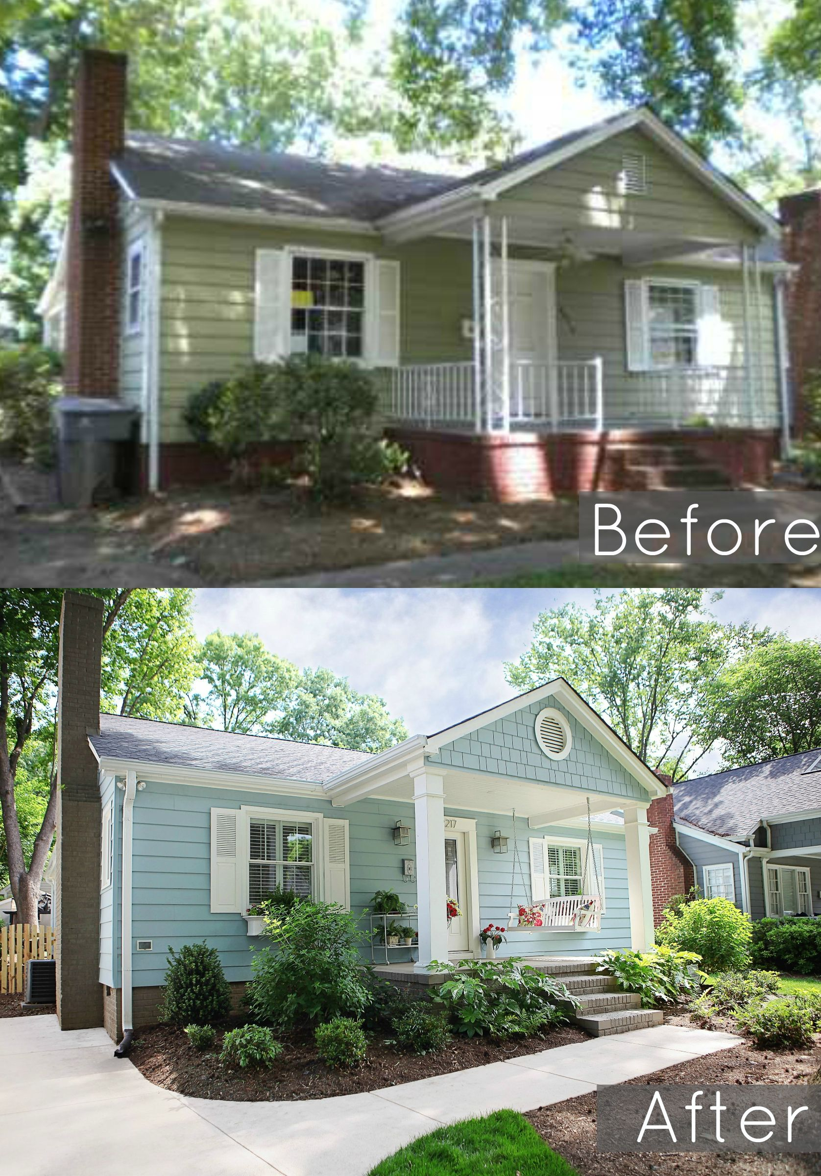 Before And After Of Our 1940 S Bungalows Exterior Baystreetbungalows Houseflip Remodel Bungalow Beforeandafter