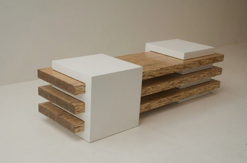 Back And Front Combination Of Contemporary Bench In Concrete And Wood Combination Furniture