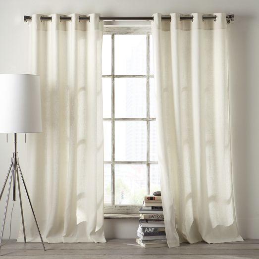linen cotton grommet curtain white