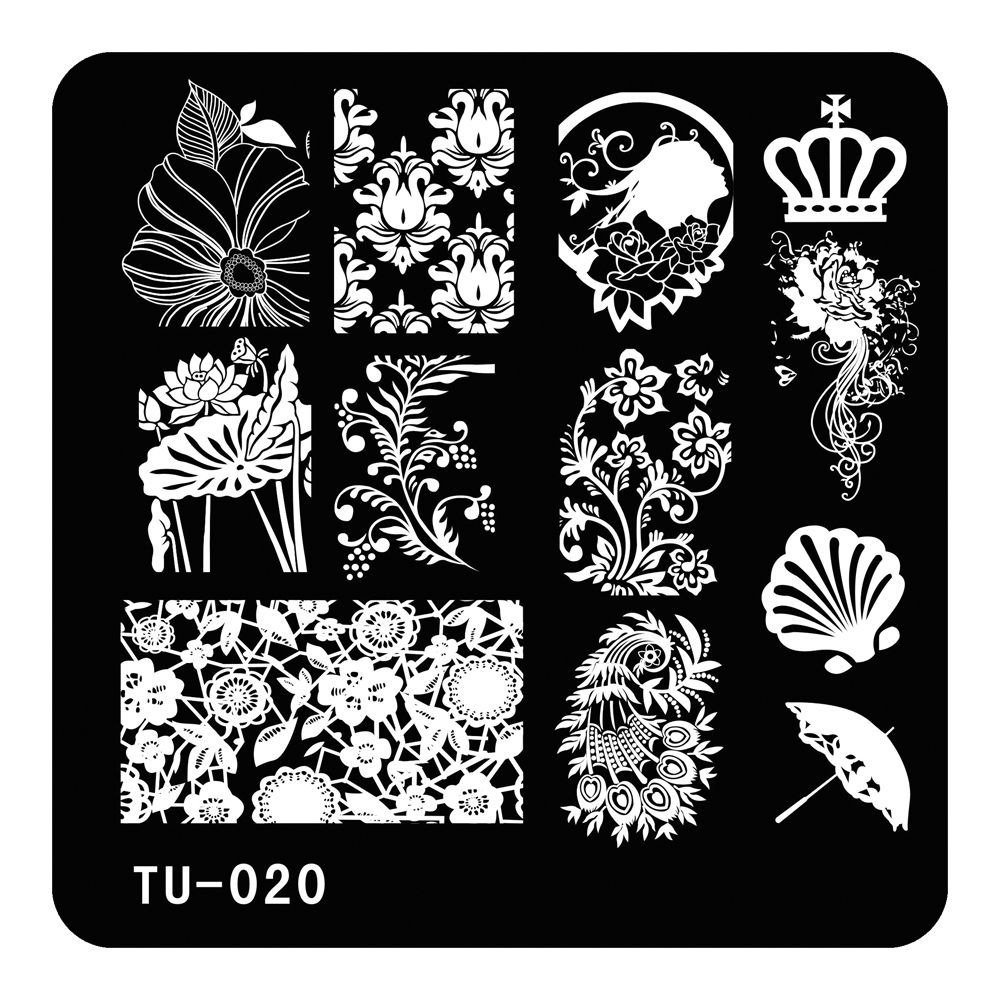 5.9cm DIY Nail Art Image Stamp Stamping Plates Manicure Template Stainless Nail Design Umbrella Crown Shell TU-020