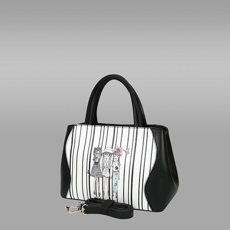 Black White Colour Pu Leather Handbag