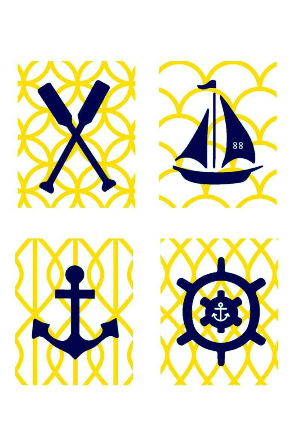 Yellow and Navy Nursery Art // Nautical Nursery Decor // Nautical ...
