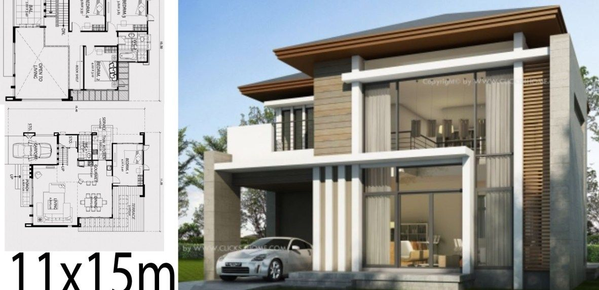 Home Design 11x15m With 4 Bedrooms Bungalow House Design House Design Duplex House Design
