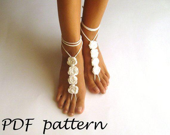 Crochet Pattern Rose Crochet Barefoot Sandals Nude Shoes Pattern