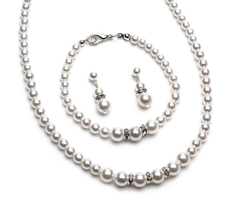 Usabride simulated pearl u rhinestone piece jewelry set necklace