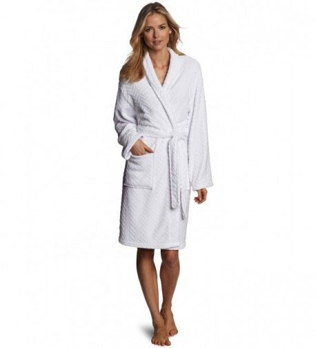 Hotel Spa Collection Herringbone Textured Plush Robe- Optic White ... cc998b829