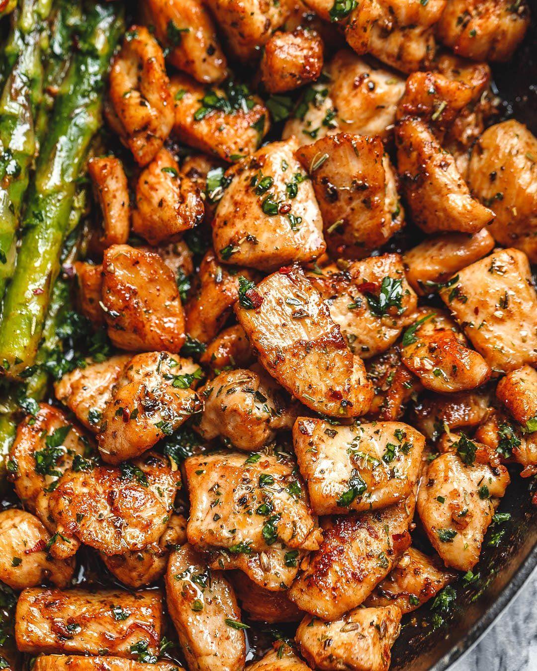 Garlic Butter Chicken Bites with Lemon Asparagus -
