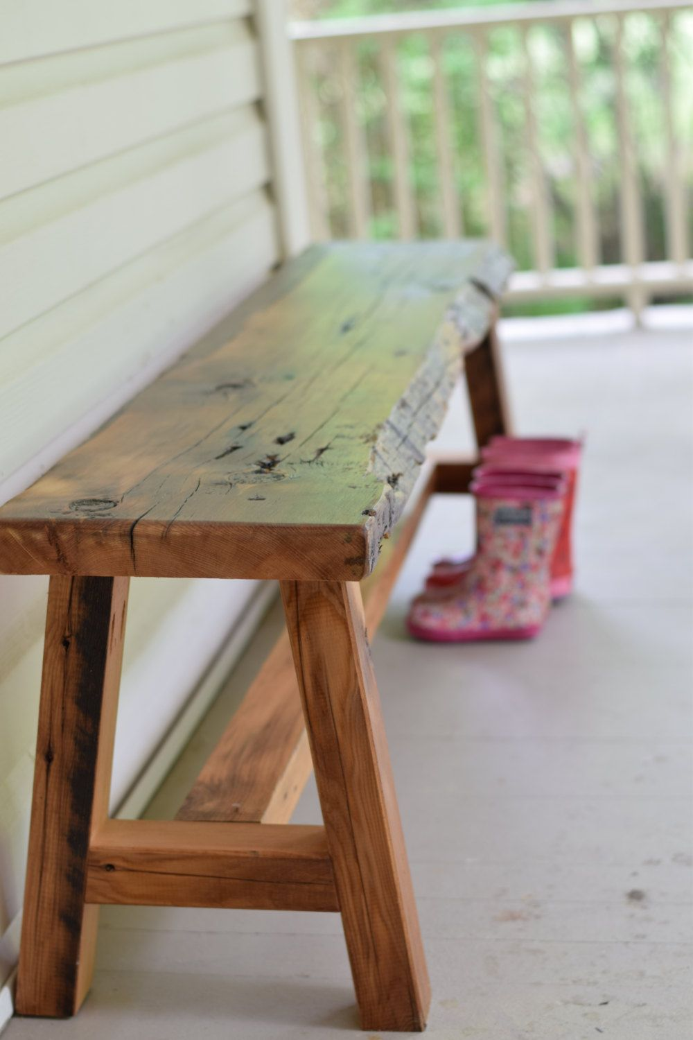 Live Edge Reclaimed Wood Bench, Entryway Bench, Barn Wood Bench ...