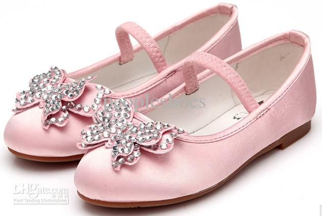 Spring Shoes Pink Color Butterfly Decoration School Girls Shoes ... 31db406b0d23