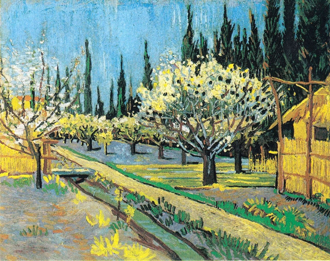 Flowering Orchard Surrounded By Cypresses Vincent Van Gogh 1888 Vincent Van Gogh Paintings Van Gogh Art Van Gogh Paintings