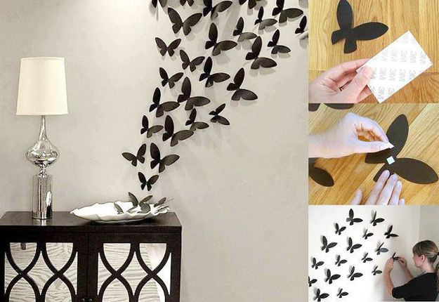 27 Insanely Inexpensive Ideas For Your Walls Diy Wall Art Butterfly Wall Decor Diy Wall Decor