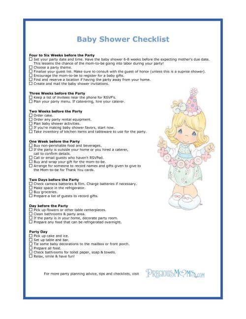 Baby Shower Checklist  Google Search  Baby Shower Ideas