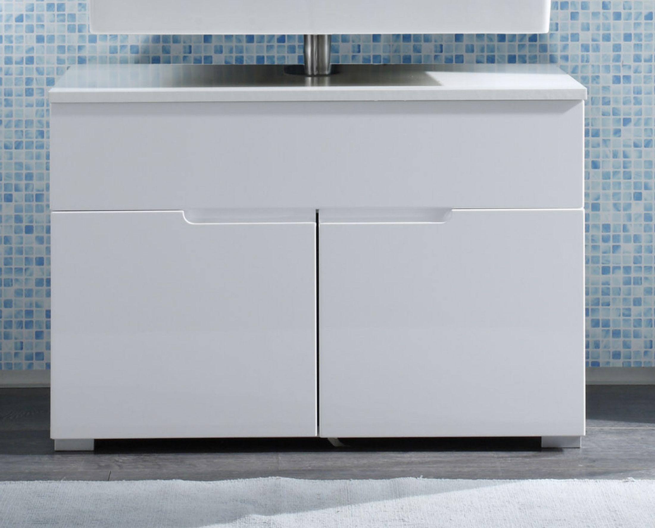 Waschtischunterschrank 120 Cm Breit Weiss Hochglanz Doppel