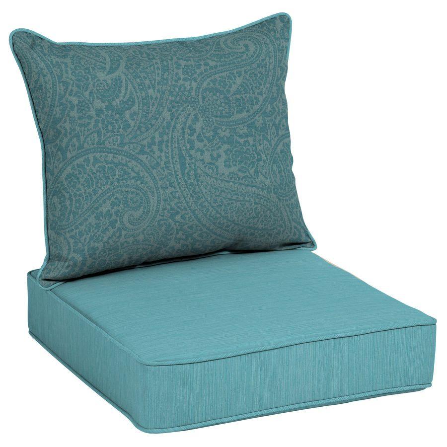 Allen Roth 2 Piece Spa Blue Kensley Deep Seat Patio Chair Cushion Lowes Com Patio Furniture Replacement Cushions Outdoor Sofa Cushions Patio Chair Cushions