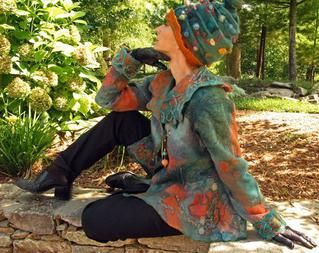 Teal Nuno Felted jacket and Felted Hat