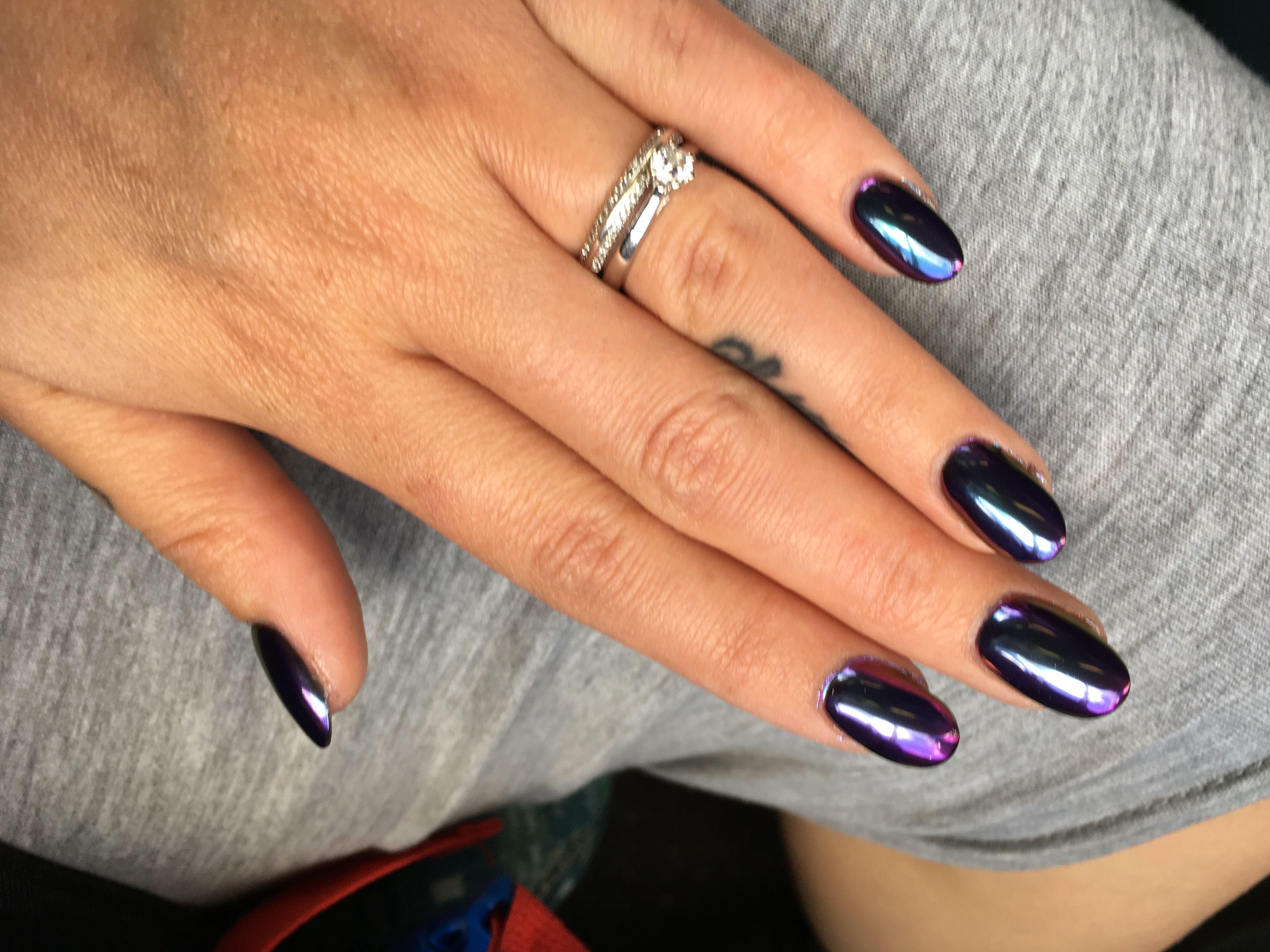 Dark chrome nails | Nails | Pinterest | Chrome nails