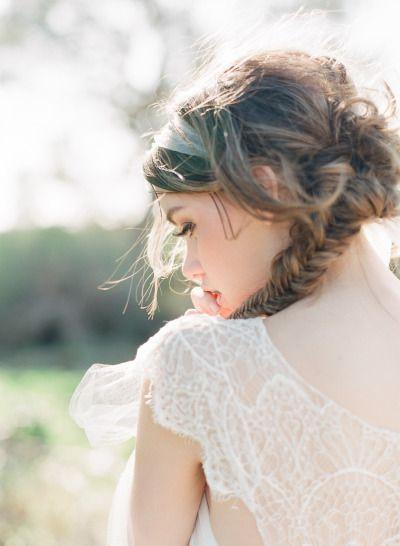 Messy fishtail braid: http://www.stylemepretty.com/australia-weddings/2014/10/02/rustic-wedding-inspiration-awash-with-sunshine/ | Photography: Qlix - http://qlixphotography.com.au/