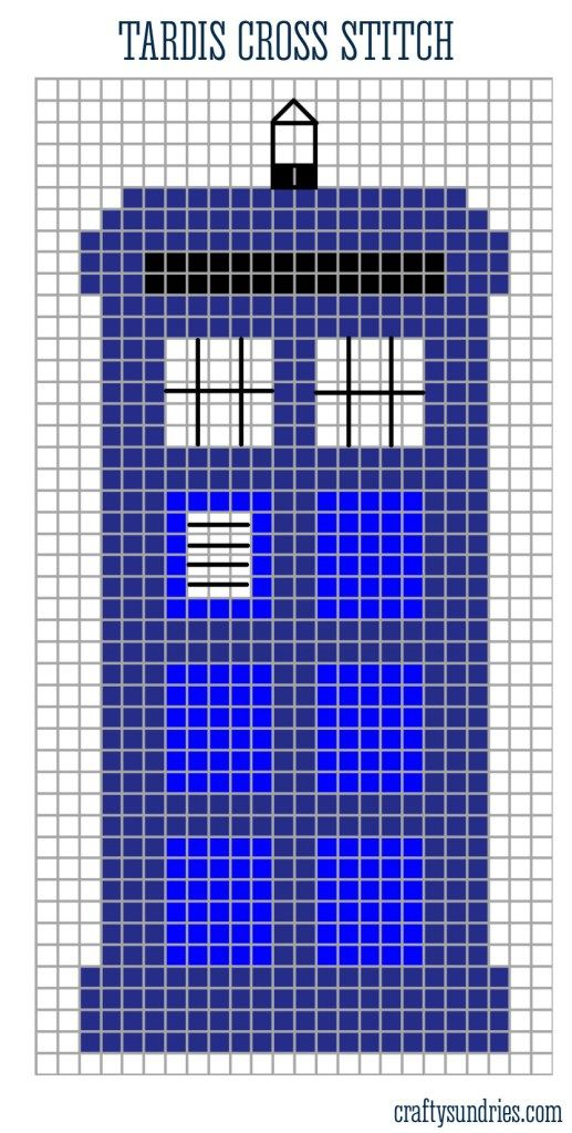 Free  Tardis Cross Stitch From Craftysundries Suggested Thread Dmc