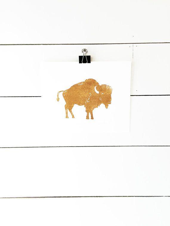 Original Linoprint limited edition Reduction Hand Printed Buffalo Gift Linocut