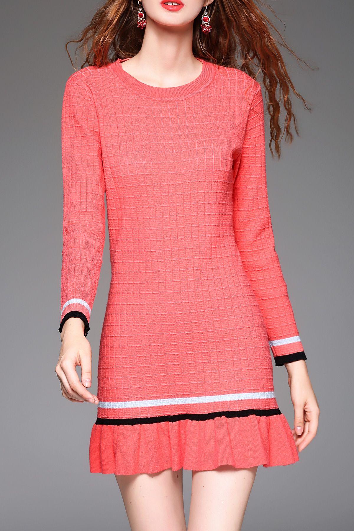 f949e2cf7 Blueoxy rosa del volante de las colmenas de la envoltura del vestido del  suéter