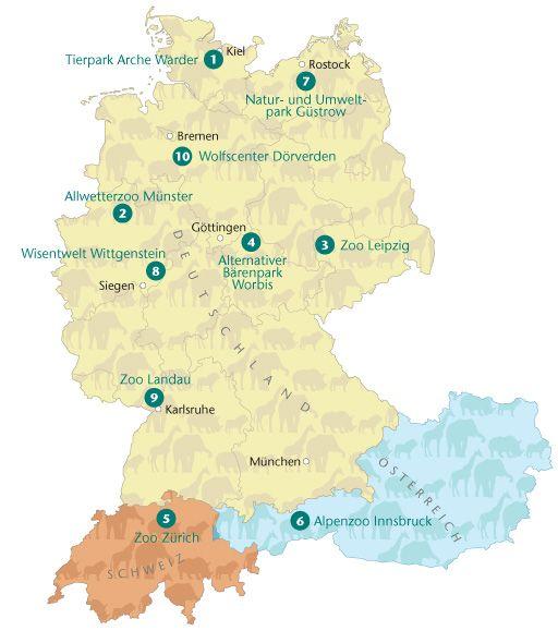 zoo karte deutschland Pressegrafik Ausgewählte Zoos in Deutschland, Österreich und der