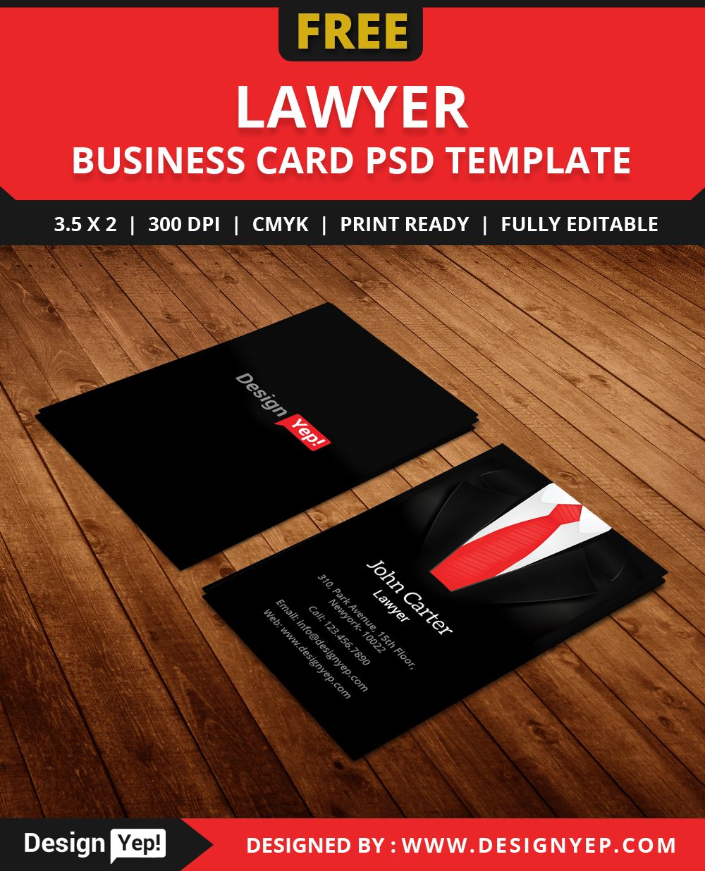 FreeLawyerBusinessCardTemplatePSD Free Business Card - Lawyer business card templates