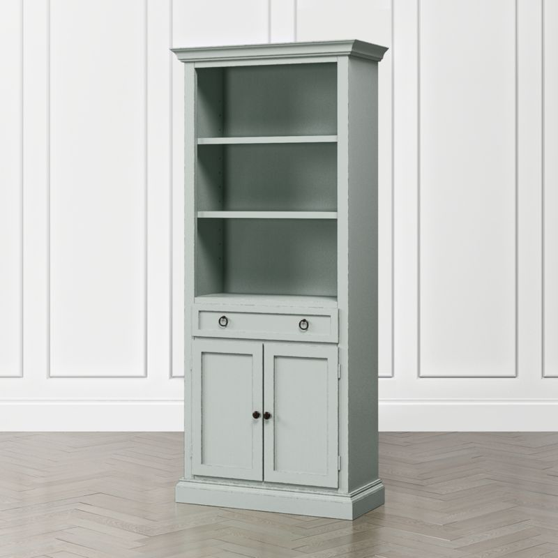 Cameo Blue Grey Storage Bookcase With Full Crown Bookcase
