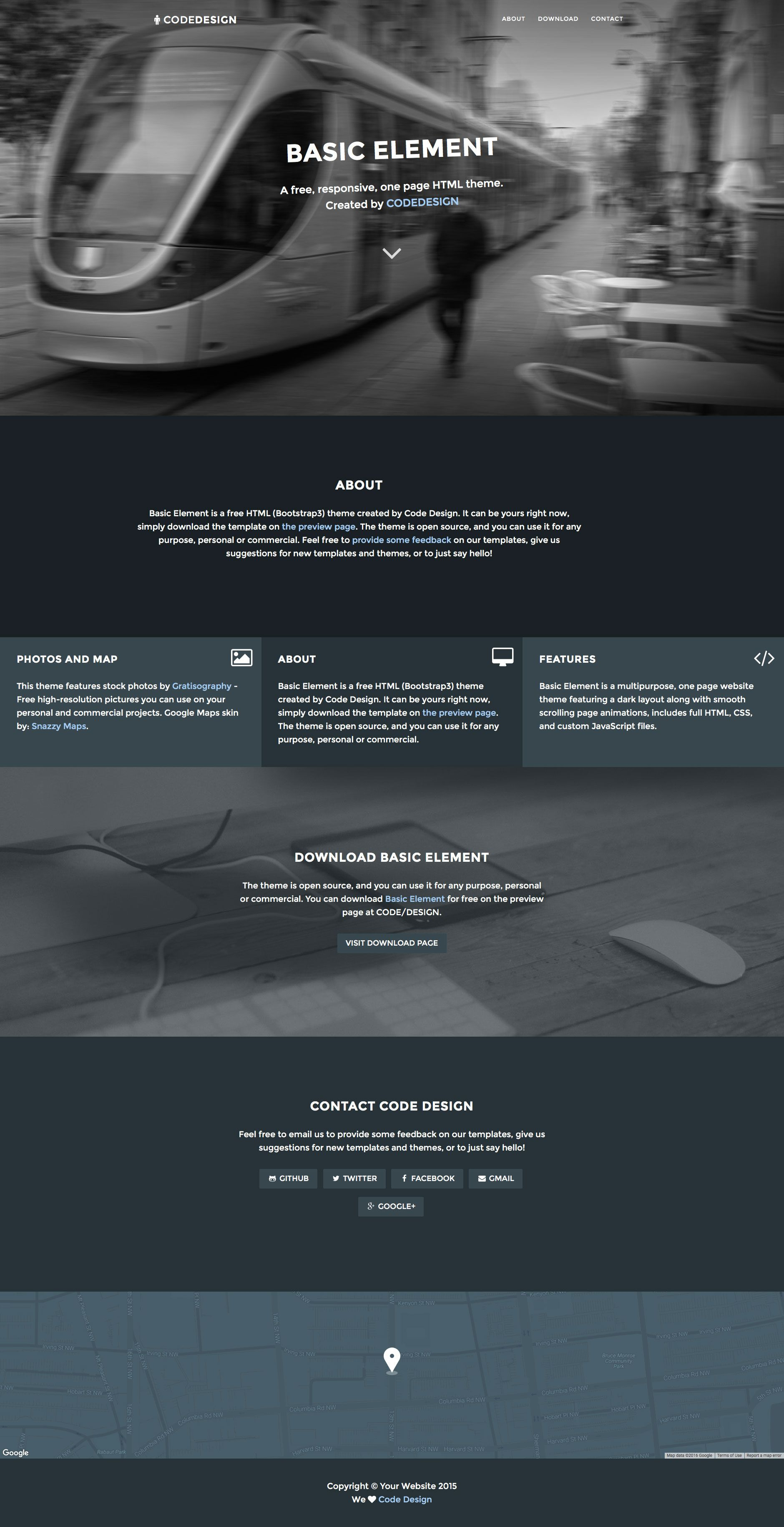 Basic Element is a free HTML5 landing page template, featuring a ...
