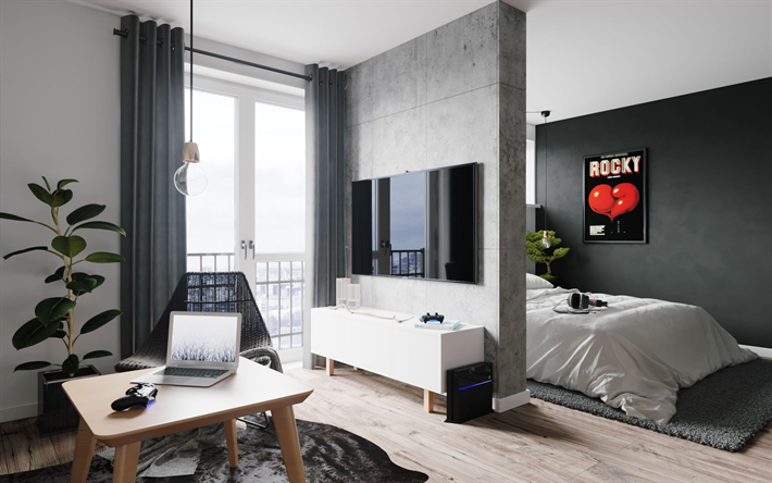 Download wallpapers stylish apartment modern design interior living room bedroom gray walls also rh in pinterest