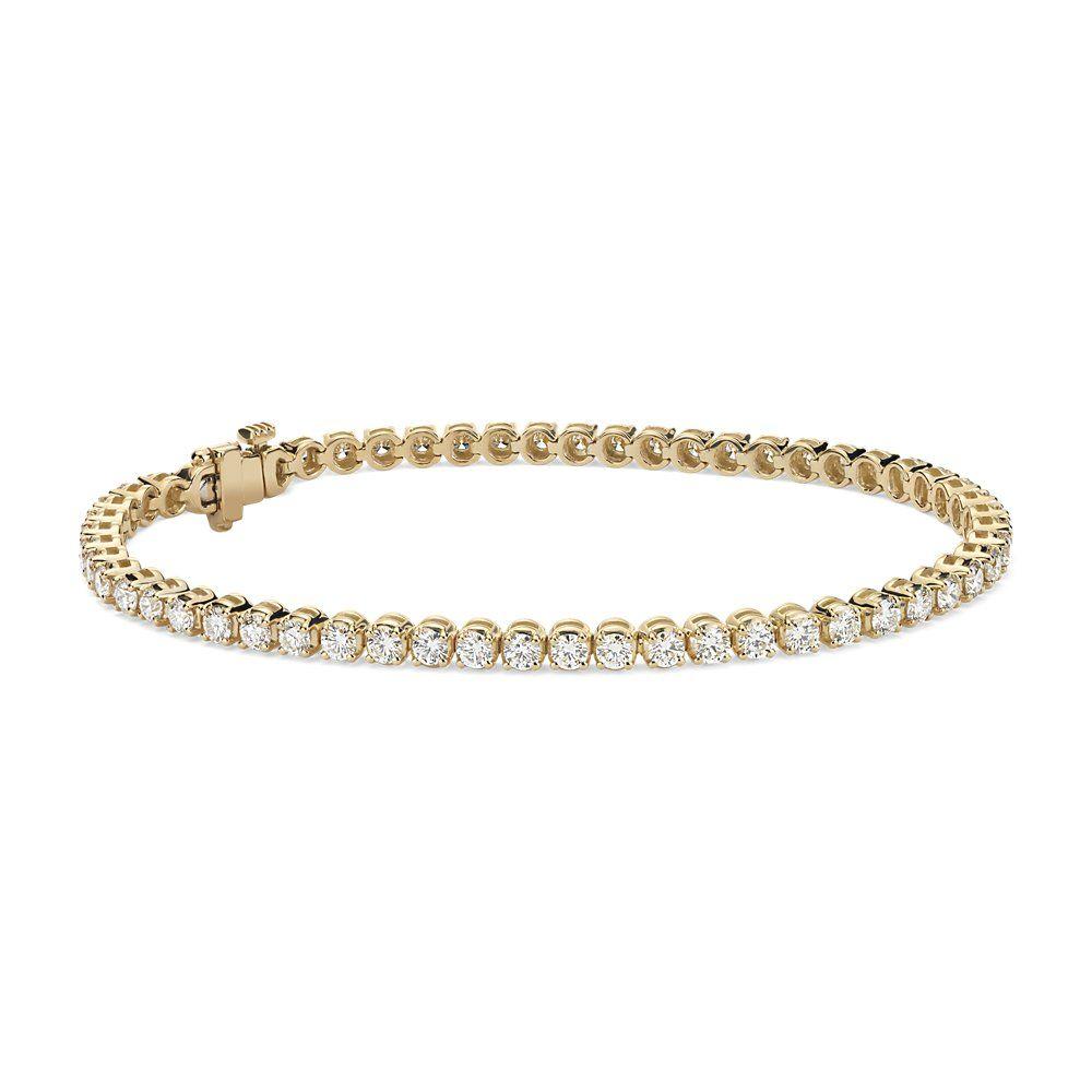 Diamond Tennis Bracelet In 18k Yellow Gold 3 Ct Tw Blue Nile Bracelets Gold Diamond Tennis Bracelet Diamond Sparkly Bracelets