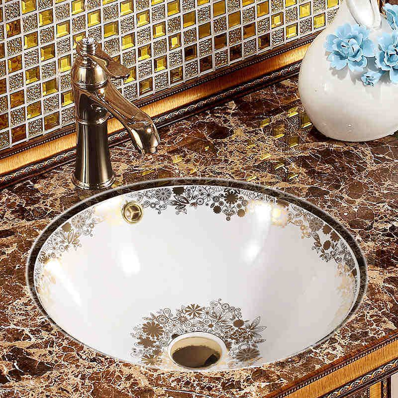 Online Shop Chinese Ceramic Oval Undercounter Bathroom Sink Art