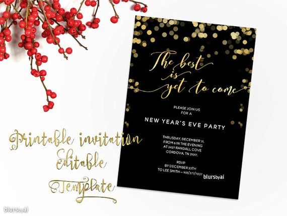 New Years Invitation Template Printable New Year Party Invitation
