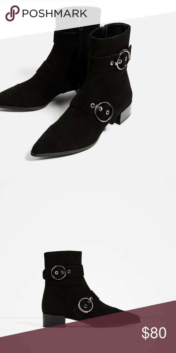 8872db8e1a49 NWT Zara Pointed 100% Leather Ankle Boots NWT Zara AW16 100% Leather Boots  with buckle details. Pointed. Suede finish. NWT. The 7.5 one says 38 7.5 on  the ...