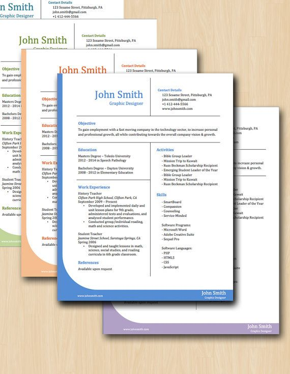 Professional Grid Resume Template - SIX COLORS - Modern Resume - contacts template word