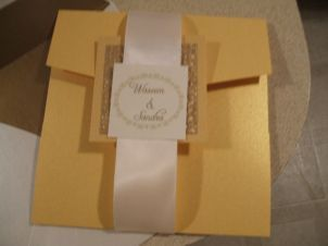 Metallic pocketfold wedding invitation suite with crystal adornment- single invitation suite customize to your colors