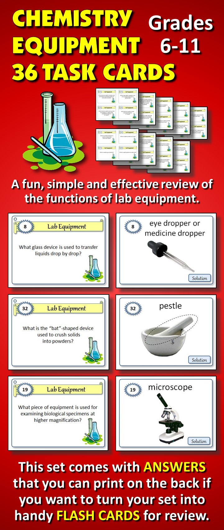 Lab Equipment Task Cards {36 Cards with Editable