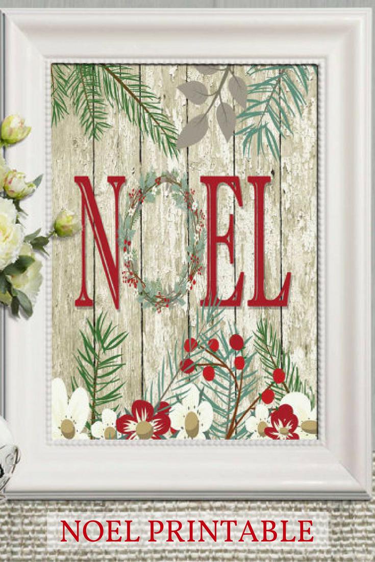 Noel print Noel printable Rustic Christmas decor Rustic Christmas ...