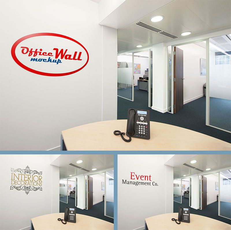 Free Indoor Office Wall Sign Mockup 59 MB