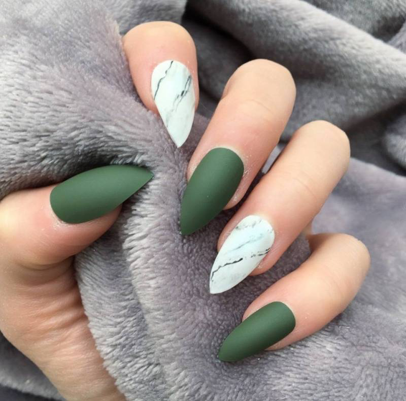 10 Fall Nail Designs To Spice Up Your Look Society19 Green Acrylic Nails Olive Nails Green Nails