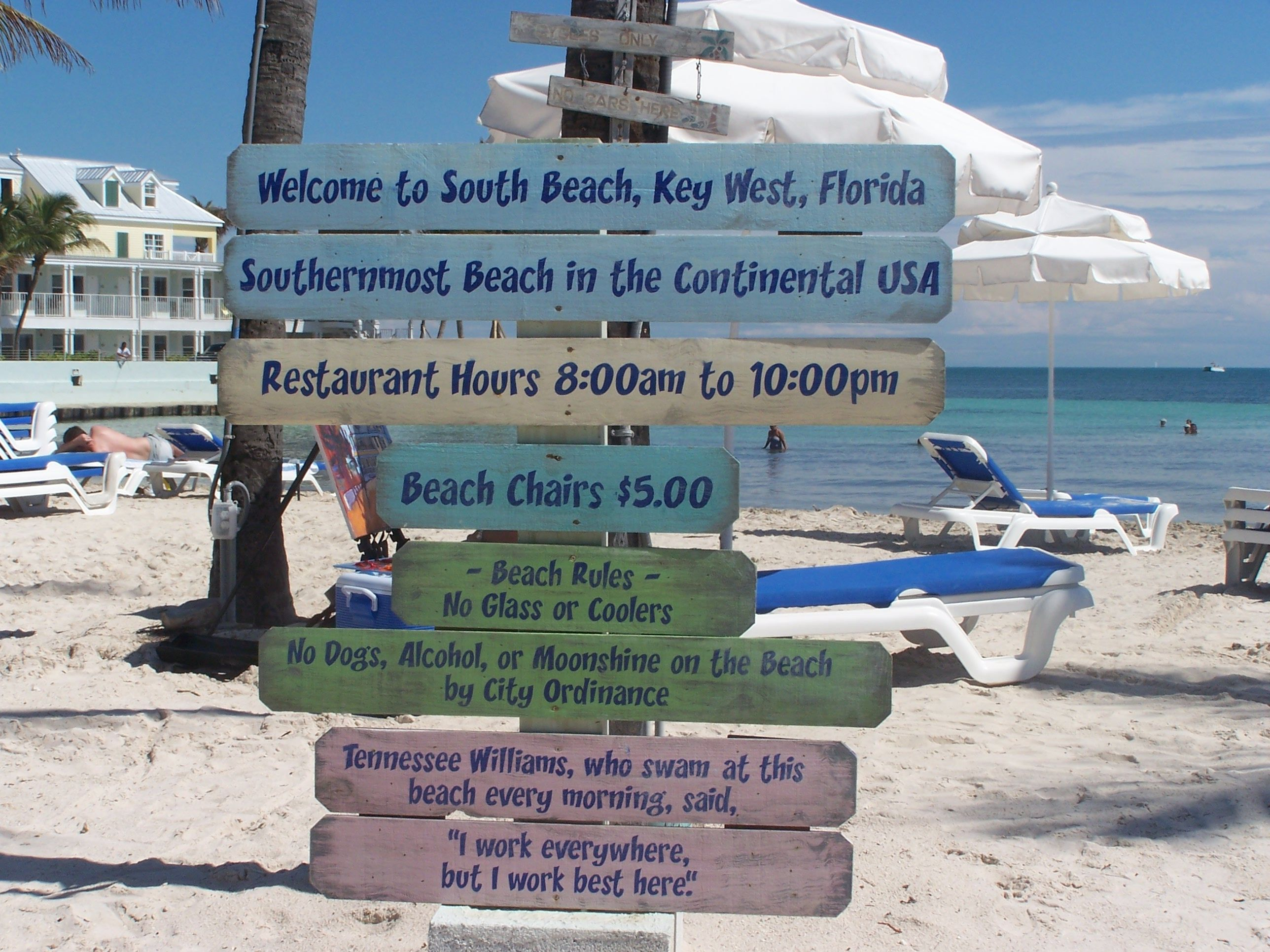 Signs On The Southernmost Beach Of Us Next To Fancy Hotel We Drove Key West In September 2017 After Crossing
