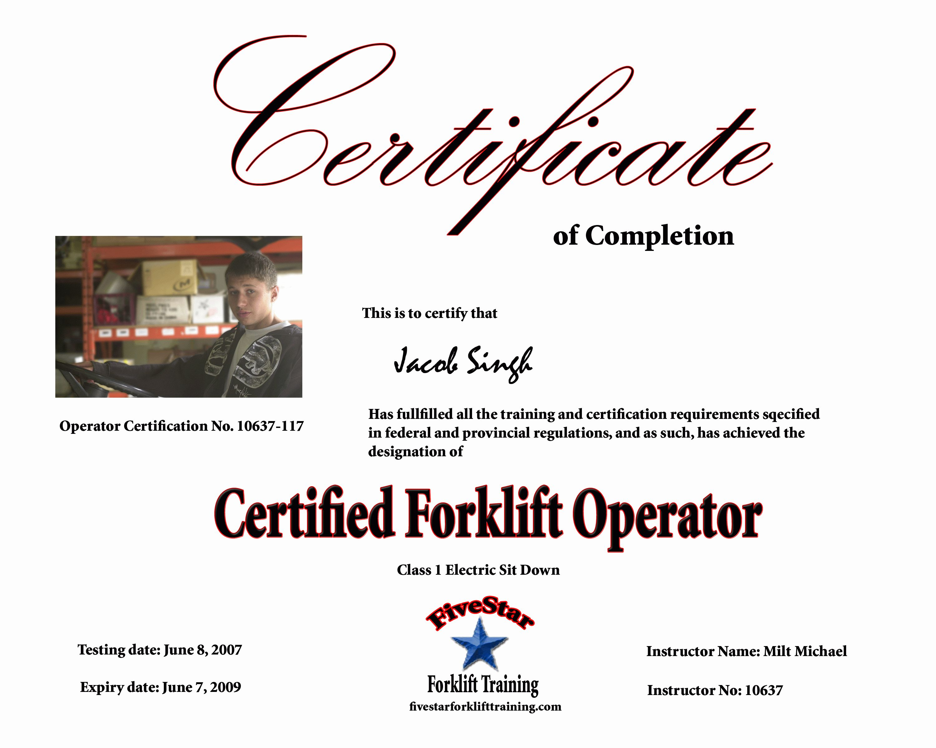 Free Printable Forklift License Template And Forklift Certification For Forklift Certification Certificate Templates Card Templates Free Professional Templates Forklift certification card template free