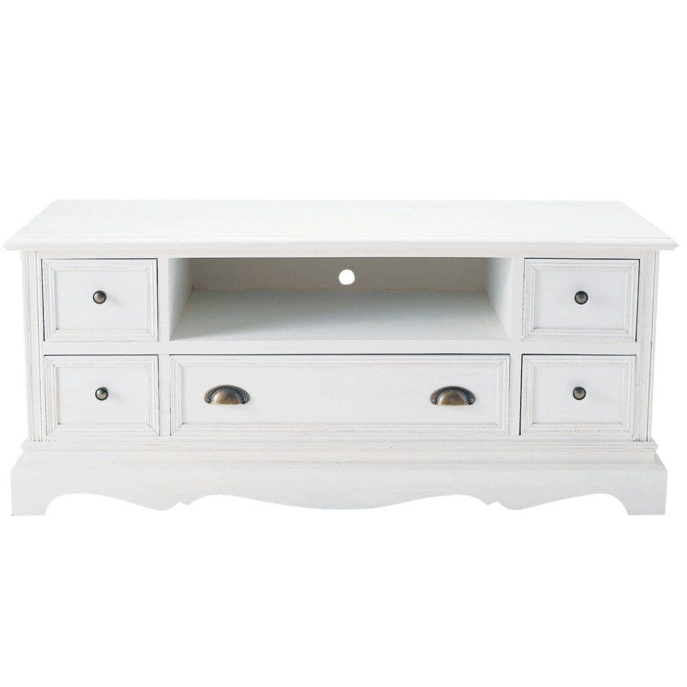 Meuble TV en paulownia blanc | Products | Tv möbel, Tv hifi ...