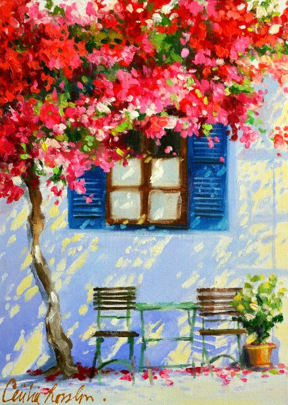 Photo of Art Print of BLOU LUIKE and Bougainvillea Painting | Greek Sidewalk With Blue Shutters by Cecilia Rosslee