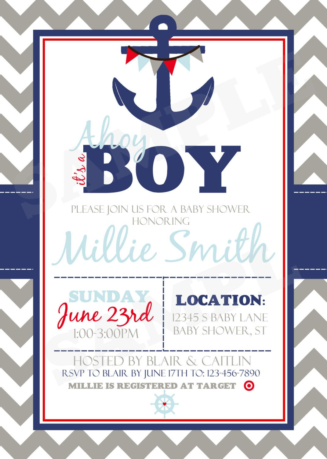 Nautical Baby Shower Invitation Printable By