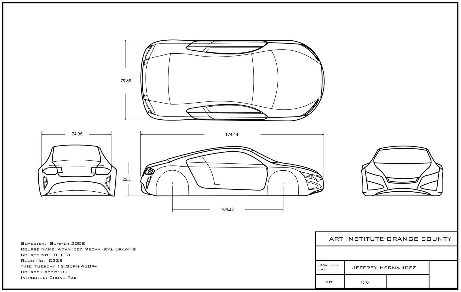Dibujo Técnico Ejercicios CarDibujo De Orthographic dxrCeWoB