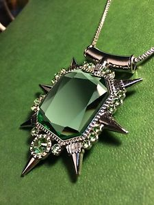 Once Upon A Time Inspired Antique Crystal Necklace - Wicked Witch Zelina Glinda Pendant QxKAsv171