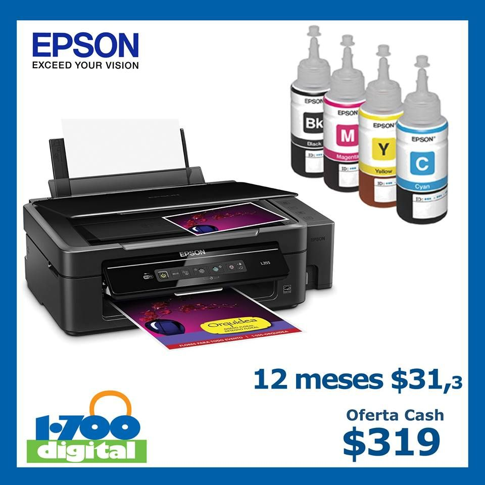 Epson L210 multifuncion de tinta continua original. Botellitas de $10 rinden 4.000 paginas en negro.